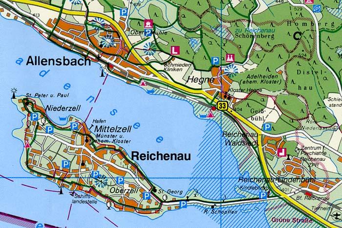 Insel Reichenau Karte.Freizeitkarte Insel Reichenau Bei Konstanz Bodensee Stadtplan