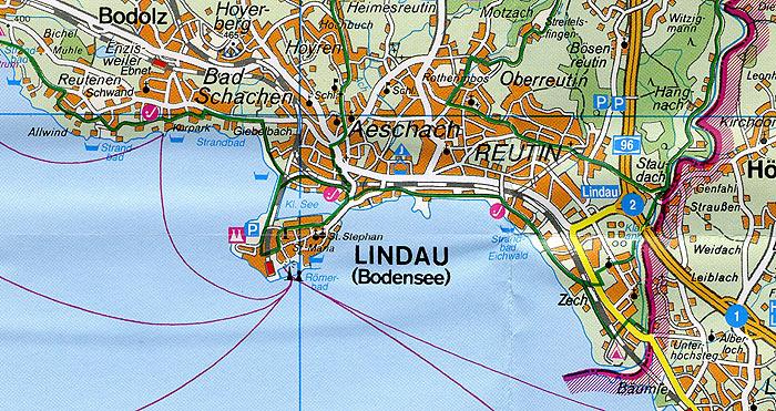 Freizeitkarte Lindau Bad Schachen Bodensee Stadtplan