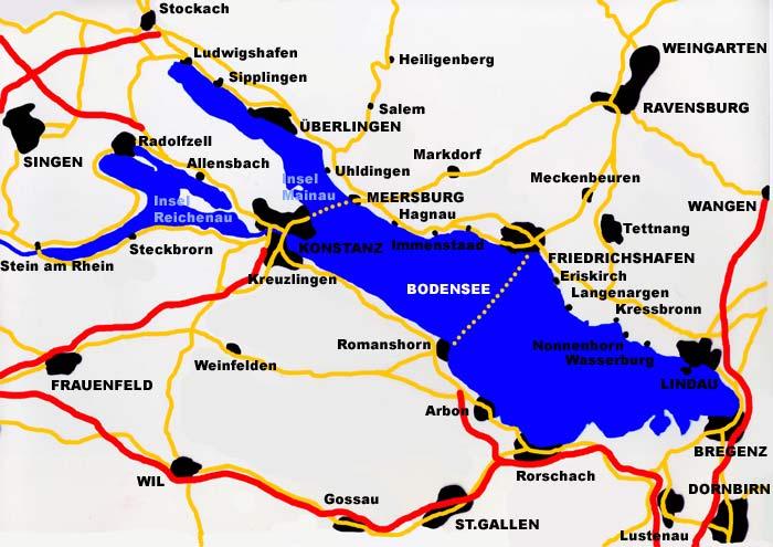 städte am bodensee karte Bodensee Karte Gesamt   Städte, Straßen, Autobahnen, Fähren, Inseln