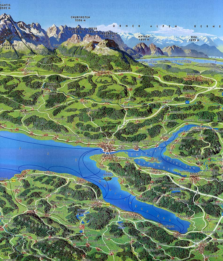 Bodensee karte 3d panorama karte bodensee westlicher for Bodensee karte