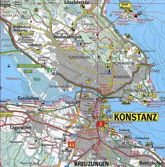 bodensee karte konstanz Umgebung Konstanz Bodensee Stadtplan   Übersicht Stadtteile und