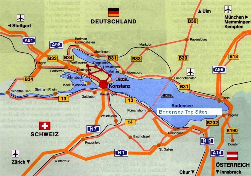 bodensee landkarte Bodensee Karte   Bodensee Bundesstraßen und Bodensee Autobahnen  bodensee landkarte